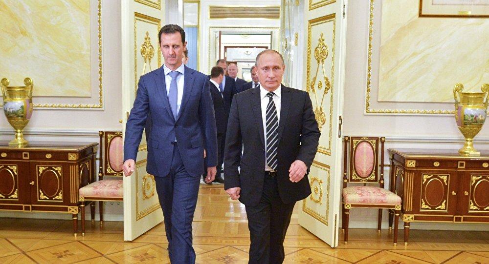 O presidente da Rússia, Vladimir Putin, durante encontro com o presidente da Síria, Bashar al-Assad, no Kremlin