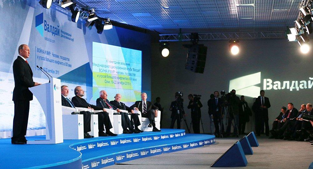 Presidente russo, Vladimir Putin, durante fórum do clube Valdai