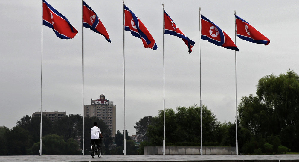 Bandeiras da Coreia do Norte em Pyongyang