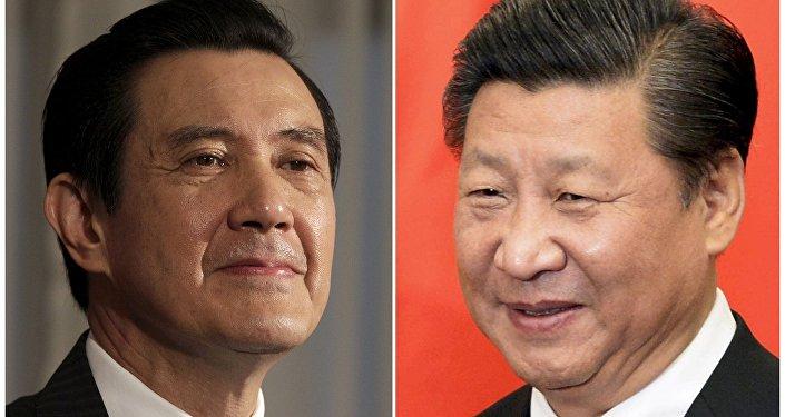 Combinação de fotos mostra Ma Ying-jeou, presidente de Taiwan, e Xi Jinping, presidente chinês