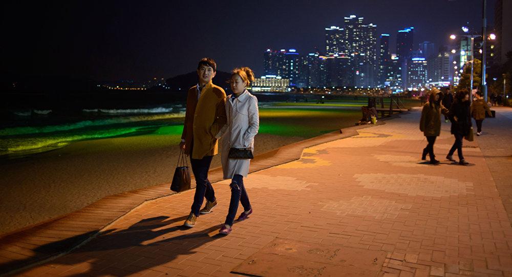 Um casal na Coreia do Sul