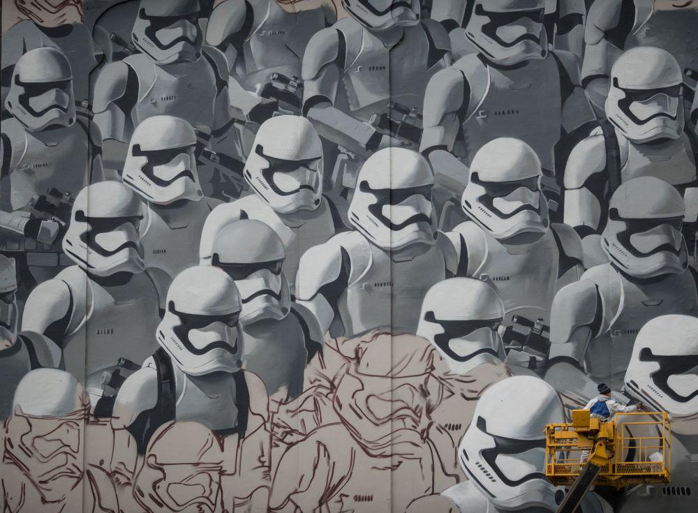 Grafiti com temática do filme Guerra nas Estralas em Moscou