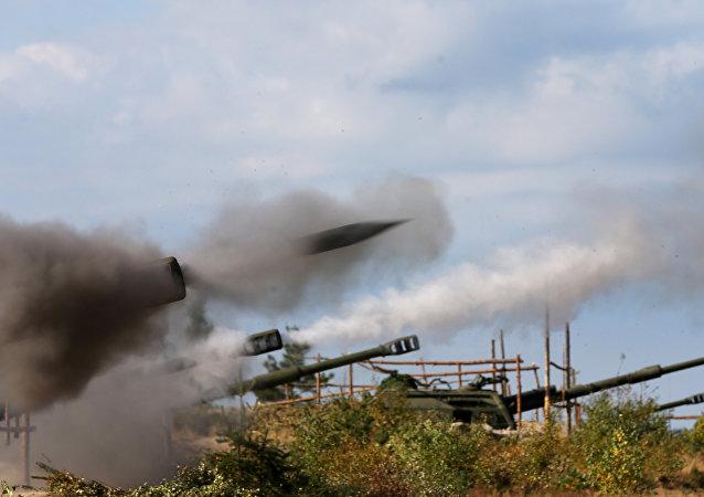 Exercício de artilharia.