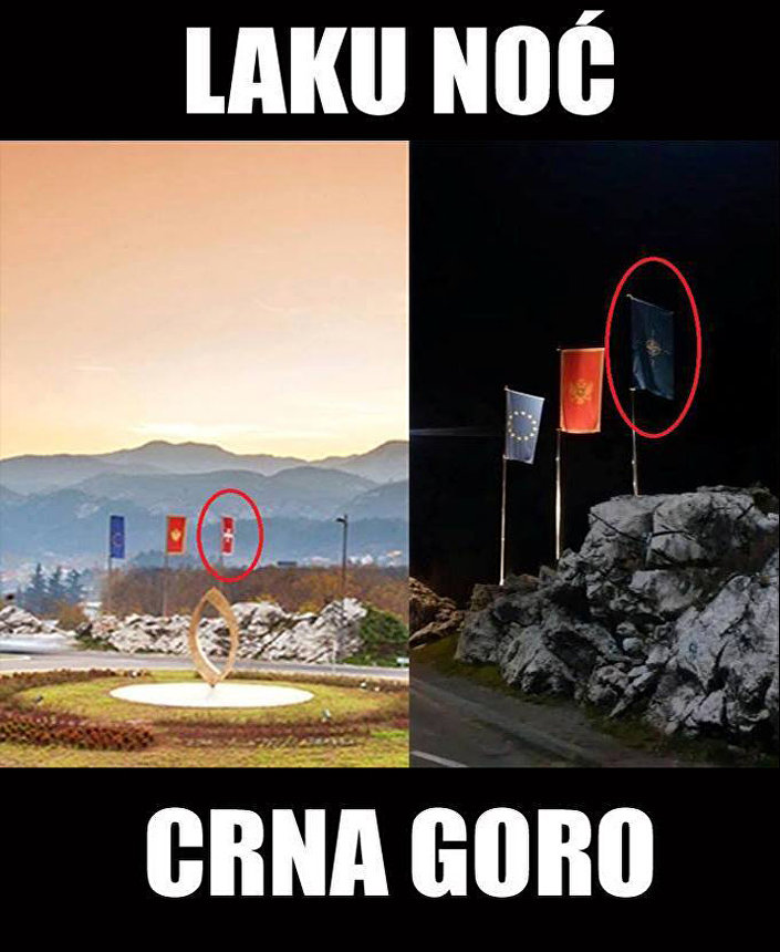 Em 2 de desembro foi queimada a bandeira da OTAN, içada em vez da histórica e tradicional de Montenegro - Krstas-barjak. A legenda: Boa noite, Montenegro.