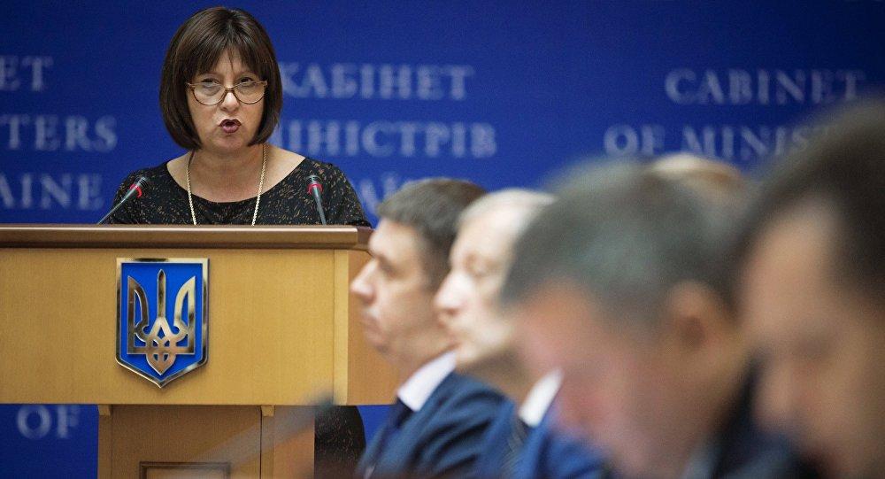 Ministra ucraniana das Finanças Natalie Jaresko durante uma sessão do governo