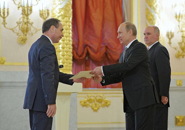 Boyko Kotsev, embaixador da Bulgária em Moscou, apresentando suas credenciais ao presidente da Rússia, Vladimir Putin, em 26 de setembro de 2012