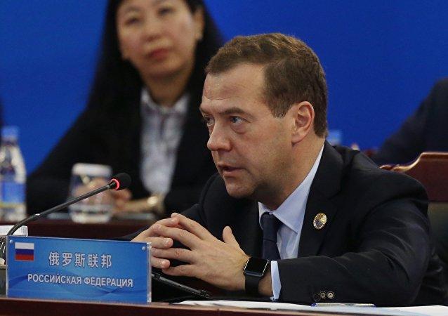 Primeiro-ministro da Rússia, Dmitry Medvedev, durante o Conselho dos Chefes dos Governos da SCO