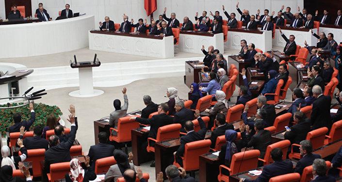 Parlamento da Turquia durante uma votação, Ancara, 30 de novembro de 2015