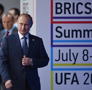 O presidente russo, Vladimir Putin, durante a cúpula dos BRICS em Ufá