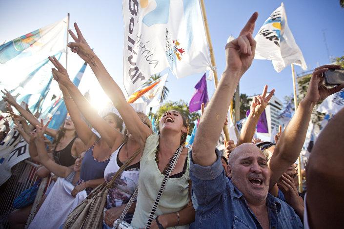 Uma manifestação em Buenos Aires a favor da ativista Milagro Sala, em 18 de janeiro de 2016