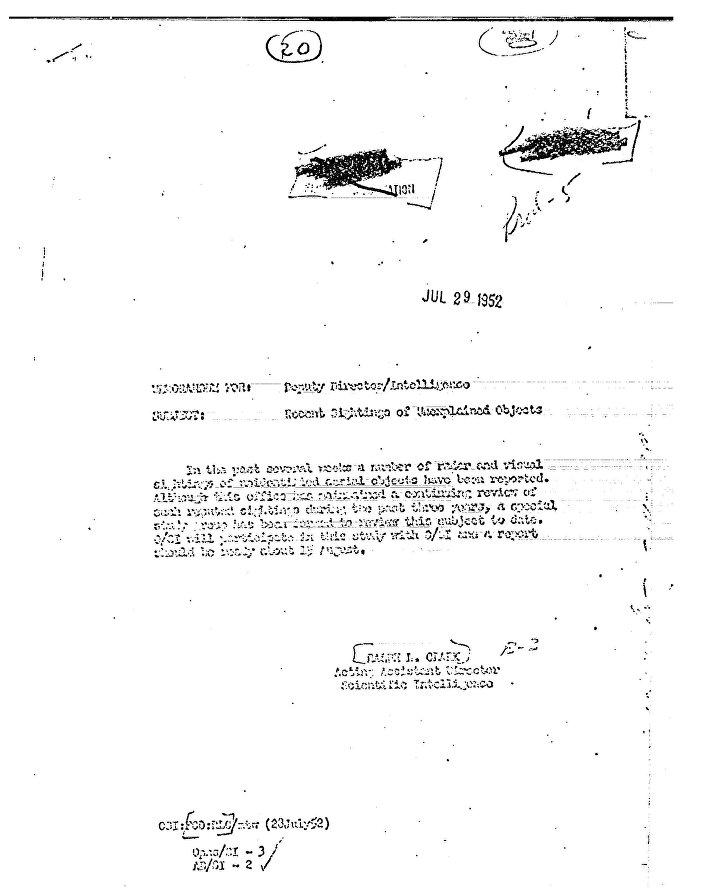 Um dos documentos sobre ONVIs divulgados pela CIA