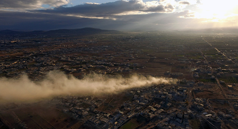 Daraya, um subúrbio de Damasco, durante combates entre o Exército Árabe sírio e terroristas