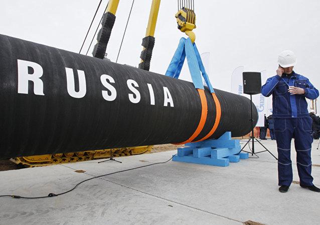 Foto de arquivo (abril de 2010): antes da cerimônia da iniciação de construção do gasoduto Corrente do Norte