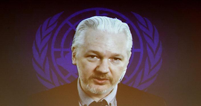 Julian Assange, fundador do WikiLeaks, fala via Internet durante a sessão do Conselho de Direitos Humanos da ONU, 23 de março de 2015