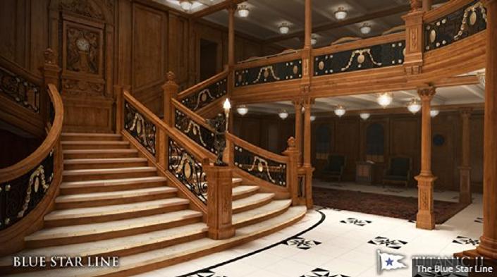 Escadaria no navio Titanic 2