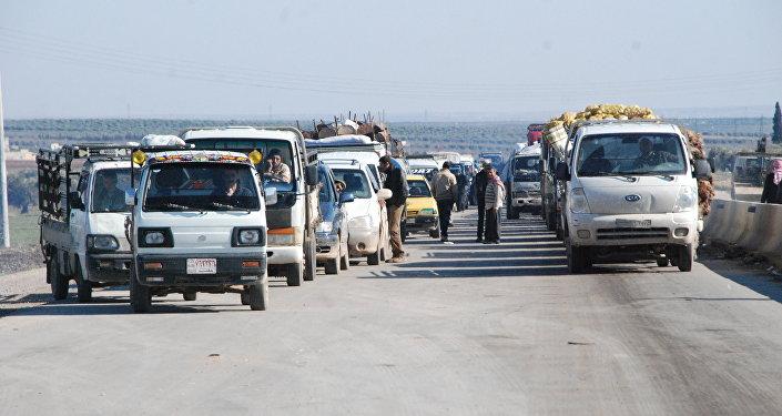 Refugiados curdos no cantão Afrin da província síria de Aleppo