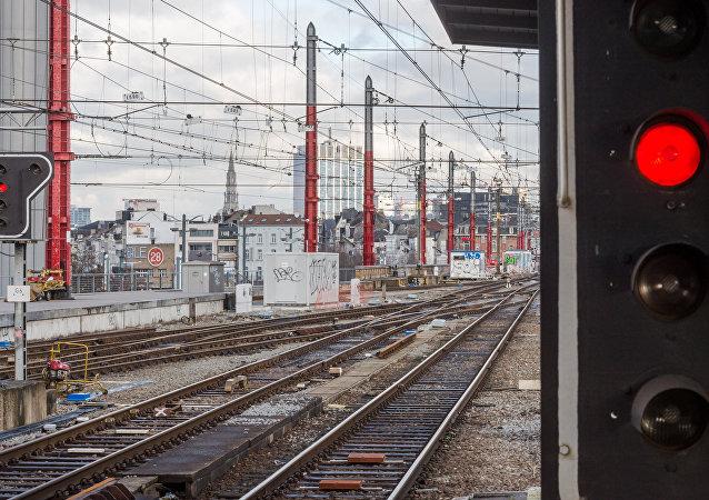 Estação de trem na Bélgica