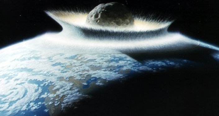 A impressão dum artista do asteróide que matou os dinossauros