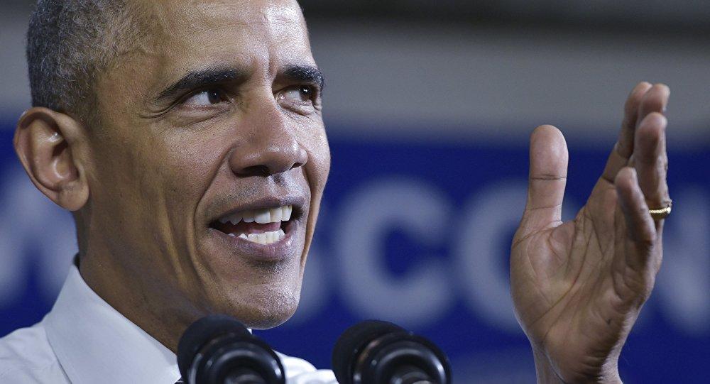 Presidente norte-americano Barack Obama discursa no Centro de Comunidade Unida em Wisconsin, EUA, 3 de março de 2016
