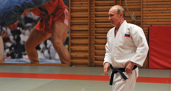 Vladimir Putin, presidente da Rússia, luta judô