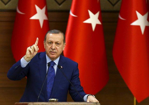 Presidente da Turquia, Recep Tayyip Erdogan, em 16 de março de 2016