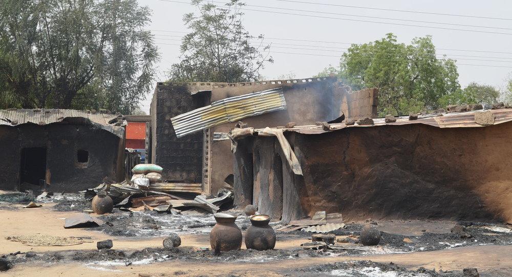 Vila destruída pelo Boko Haram em Maiduguri