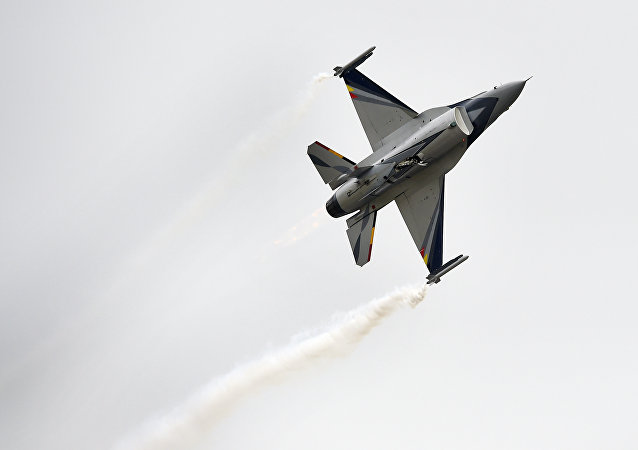 Avião F-16 da Força Aérea belga