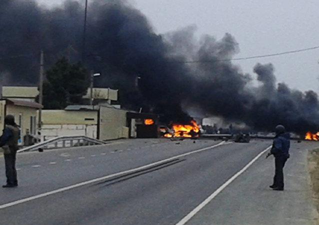 Explosão de veículos da polícia russa no Daguestão