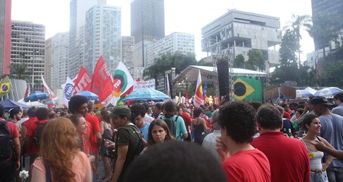 Manifestação contra o impeachment da presidenta Dilma Rousseff no Rio de Janeiro