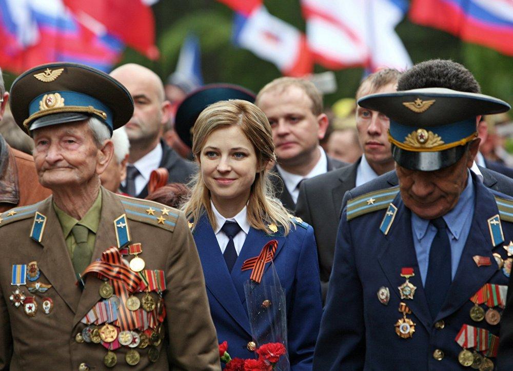 Poklonskaya durante a celebração do dia da Vitória em Simferopol