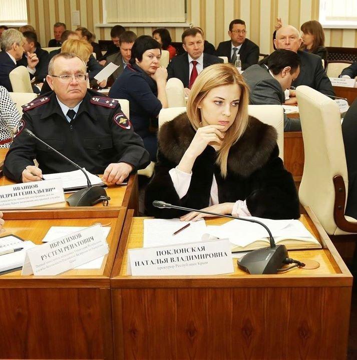 Poklonskaya numa reunião do Conselho de Ministros
