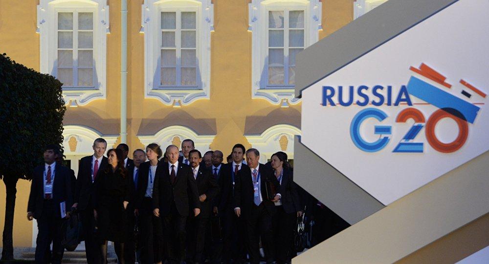 Logo da cúpula do G20 na Rússia, em 2013.