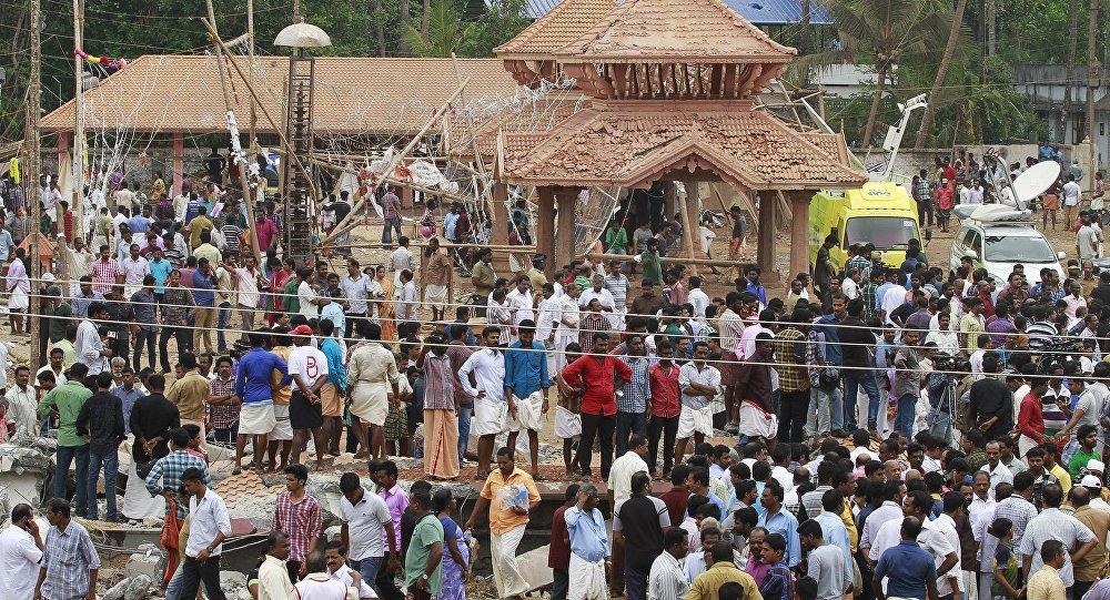 As pessoas depois do incêndio em Kerala, na Índia