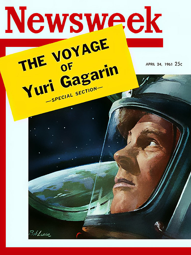 Yuri Gagarin, O primeiro homem no espaço, Newsweek em 24 de abril de 1961, ilustração da Bob Lavin
