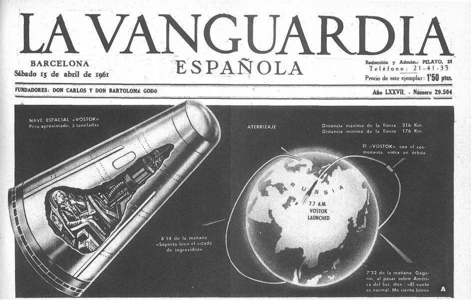 Capa do La Vanguardia (Espanha), em 15 de abril de 1961, é dedicada ao Yuri Gagarin