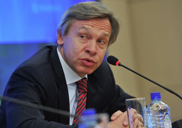 Presidente do Comitê para as Relações Exteriores da Duma Estatal (câmara baixa do parlamento russo), Alexei Pushkov.