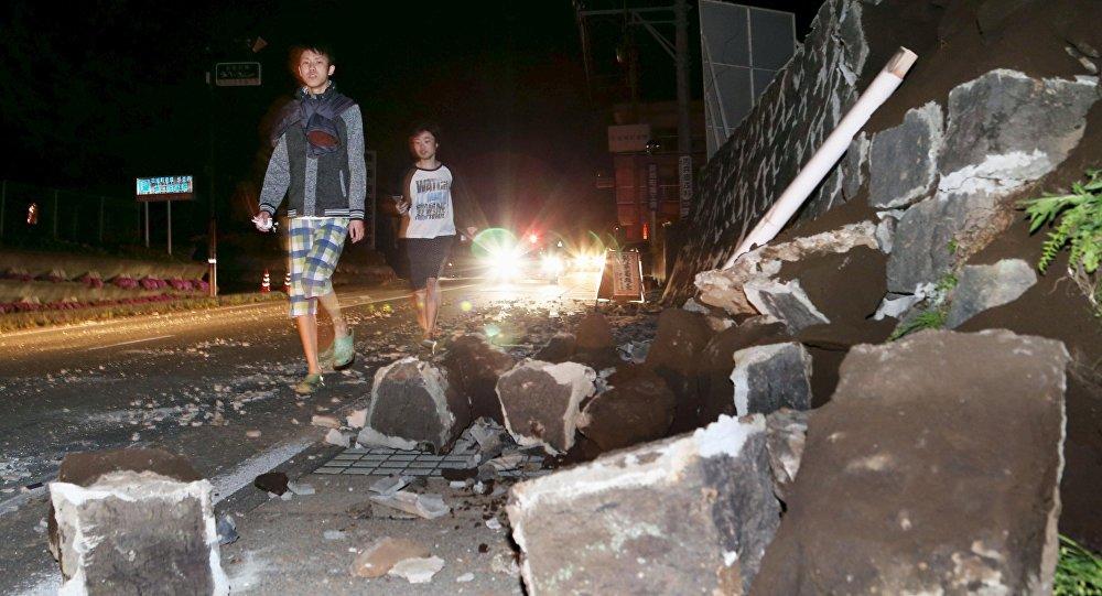 Escombros provocados por terremoto na cidade japonesa de Mashiki, prefeitura de Kumamoto. 14/04/2016