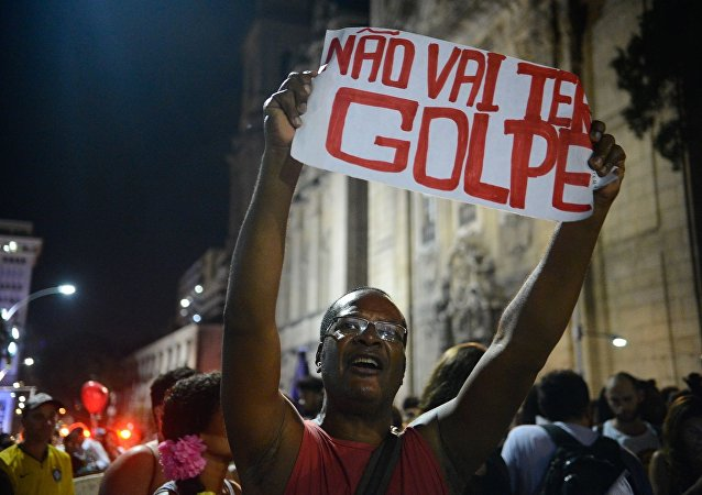 Manifestante no Centro do Rio: Não vai ter golpe