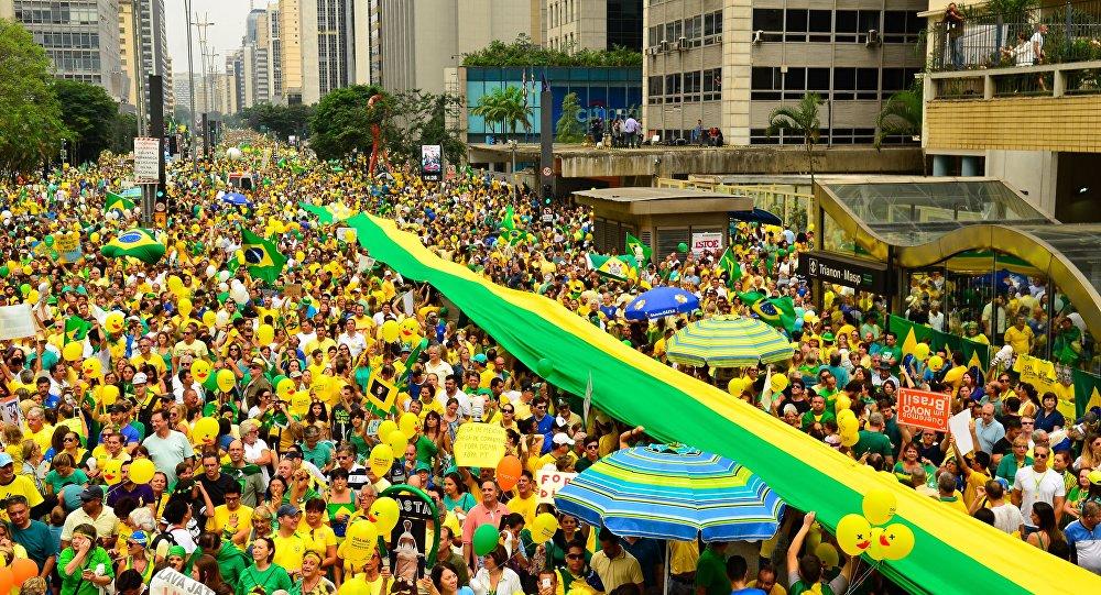 Manifestação pró-impeachment na Avenida Paulista em São Paulo