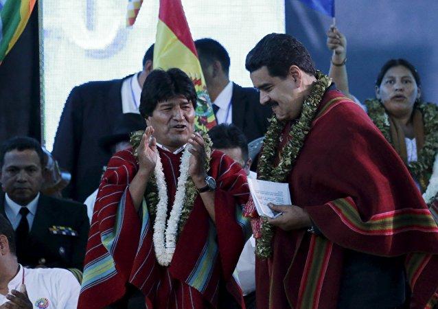 O presidente da Bolívia, Evo Morales, com o presidente da Venezuela, Nicolás Maduro (arquivo)