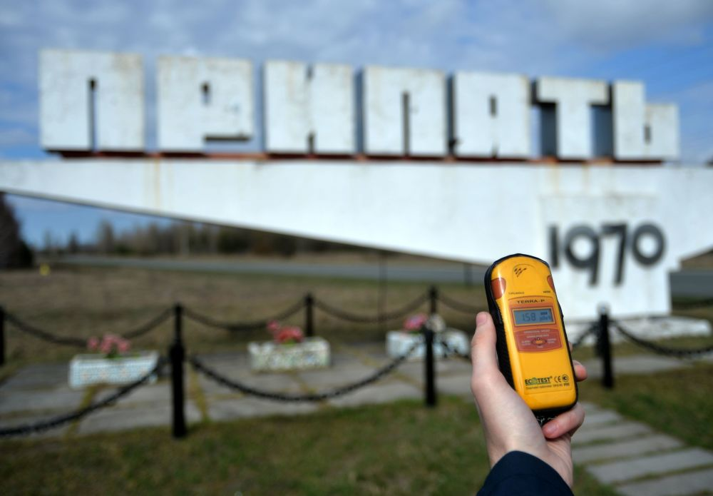 Monumento na entrada da cidade de Pripyat, na zona de alienação da Usina Nuclear de Chernobyl