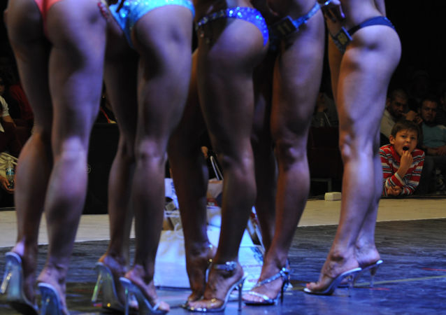 As participantes da competição de fisiculturismo 'Bikini fitness'.