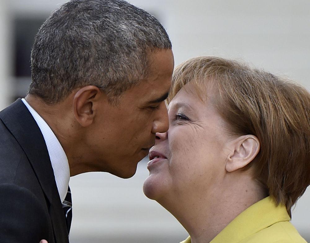 A chanceler alemã Angela Merkel e o Presidente dos EUA, Barack Obama