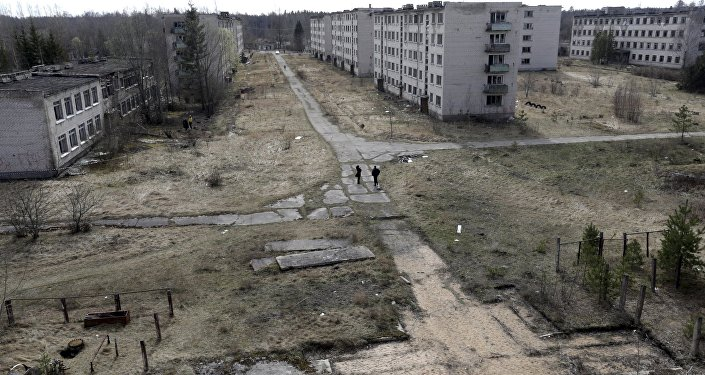 Uma imagem geral da cidade fantasma da antiga estação de radares soviética perto de Skrunda, Letônia, 9 de abril, 2016.
