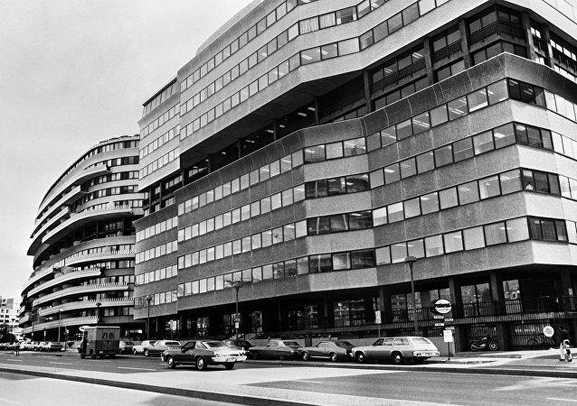 Conjunto de edifícios Watergate em Washington, EUA, abril de 1974