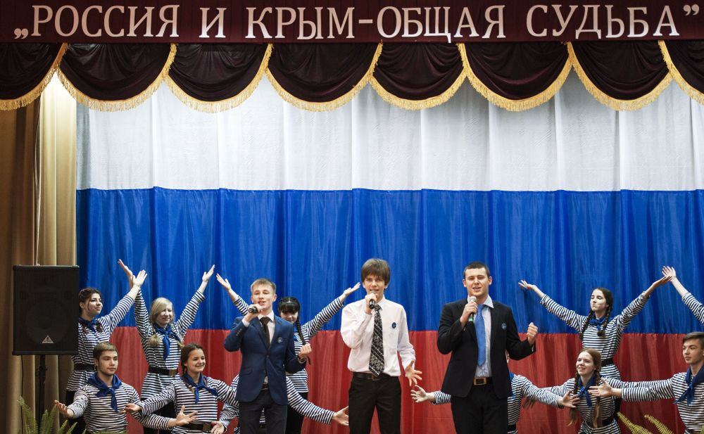 Comemoração do primeiro aniversário de reunificação da Crimeia com a Rússia em Simferopol