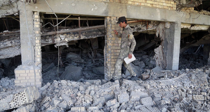Tumba demolida de Saddam Hussein
