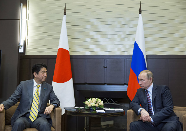 O encontro entre Vladimir Putin, o presidente russo, e Shinzo Abe, primeiro-ministro japonês, em Sochi em 6 de maio
