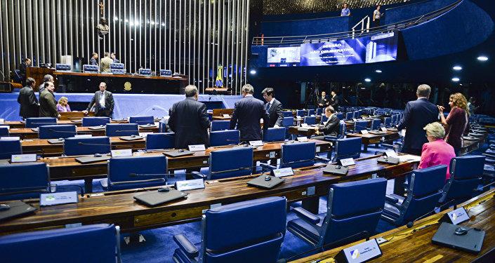 Plenário do Senado durante sessão não deliberativa, na tarde desta segunda-feira (09/05)