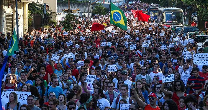 Manifestação contra o governo do presidente interino, Michel Temer, em São Paulo